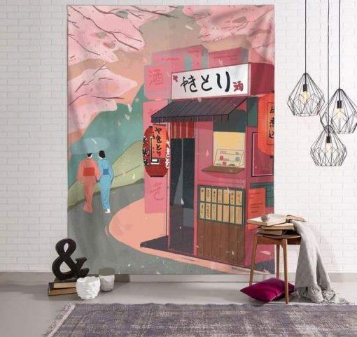 Japanischer Stoff Wandteppich