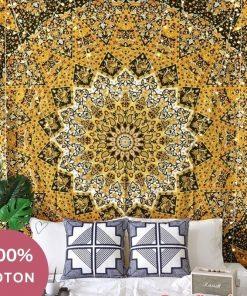 Indischer Wandbehang aus gelber Baumwolle